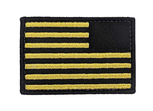 USA Flag Reverse Patch - Metallic Gold Velcro 2x3