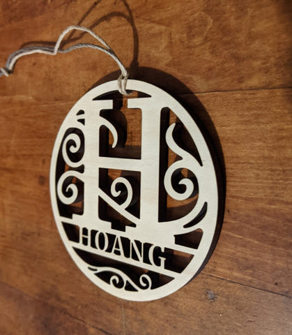 Personalized Name Christmas Ornament Monogram - Wood
