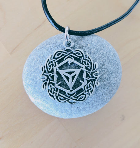 Ingress Pendant in Pewter & Leather
