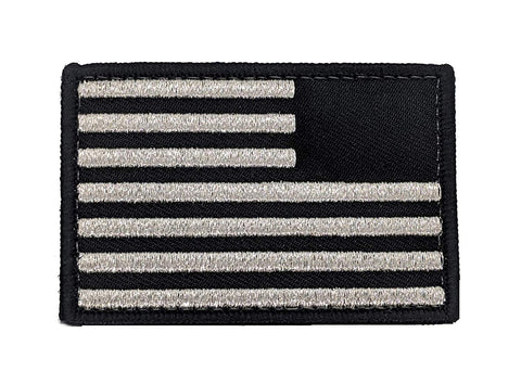 USA Flag Reverse Patch - Metallic Silver Velcro 2x3
