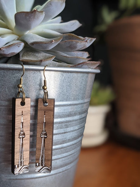 Toronto CN Tower dangle earrings - handmade reclaimed wood