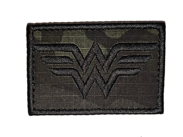 Wonder Woman Black Multicam Morale Patch - Velcro Backing