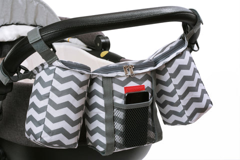 Buggy Organiser in Grey and White Chevron