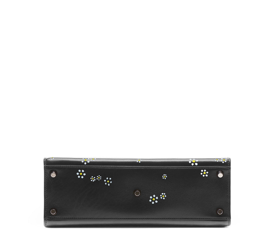 Highline 130 Smooth Calfskin Handbag with Hand-Painted Daisies