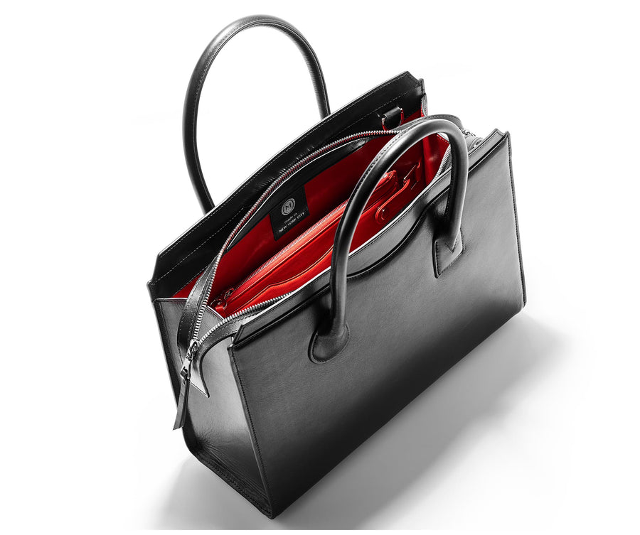 Highline 130 Smooth Calfskin Handbag - Black / Red