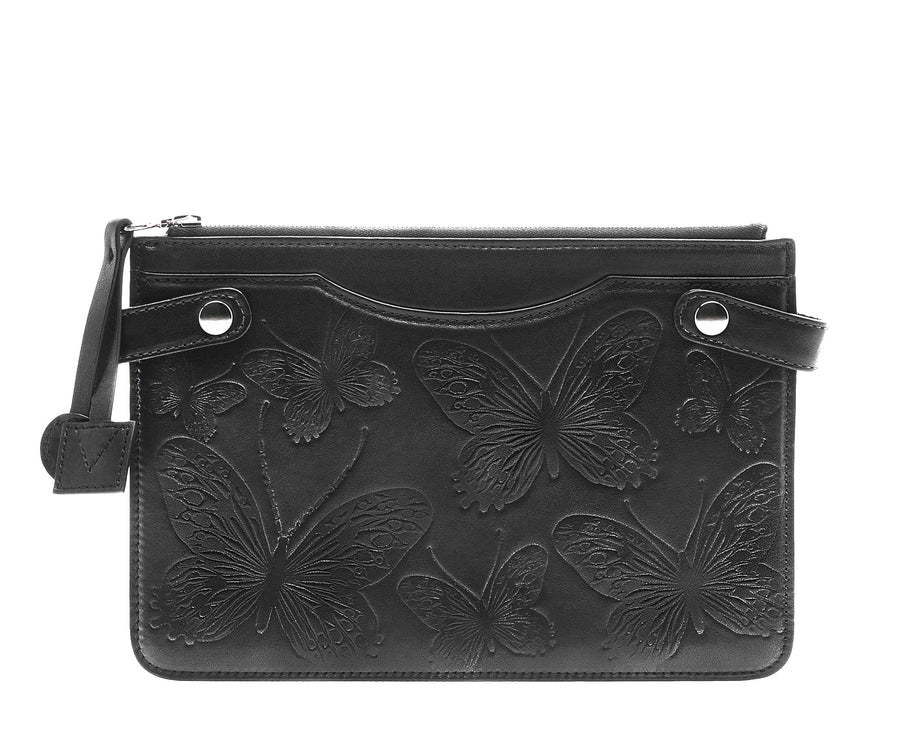 Highline Pouch in Embossed Leather - Bernard Maisner Butterfly