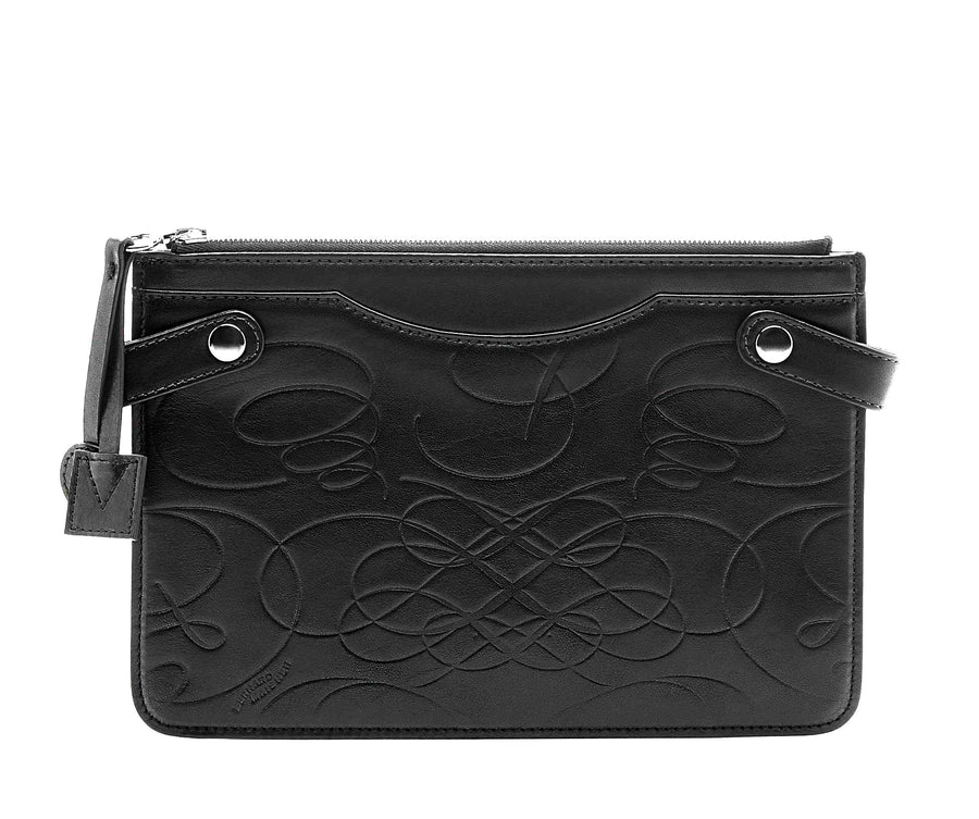 Highline Pouch in Embossed Leather - Bernard Maisner Flourish