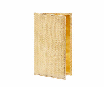 Folded Long Wallet in Pearlescent Gold Python