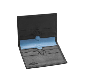 Folded Card Wallet in Smooth Leather - Black / Blue