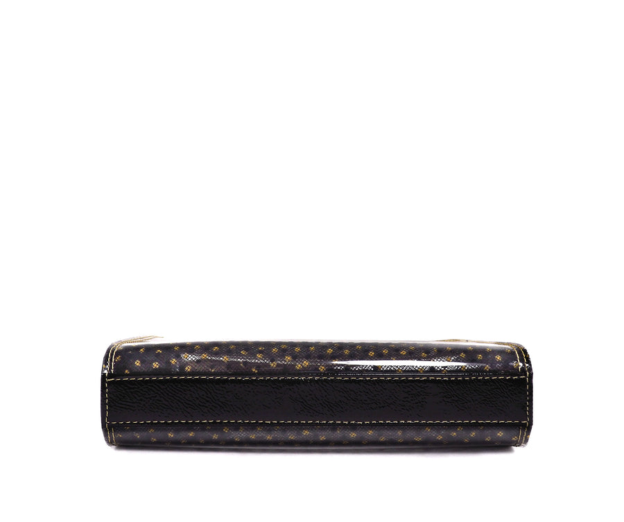 Jeffy Clutch in Golden-Black Tulle PVC