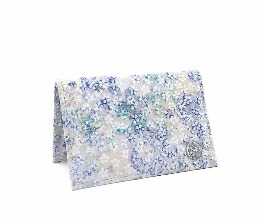 Folded Card Wallet in Watercolor Floral Suede