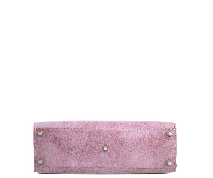 Highline 130 Textured Leather Handbag in Spray Rose