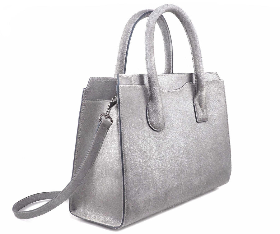 Highline 130 Pony-Hair Handbag in Glimmering White