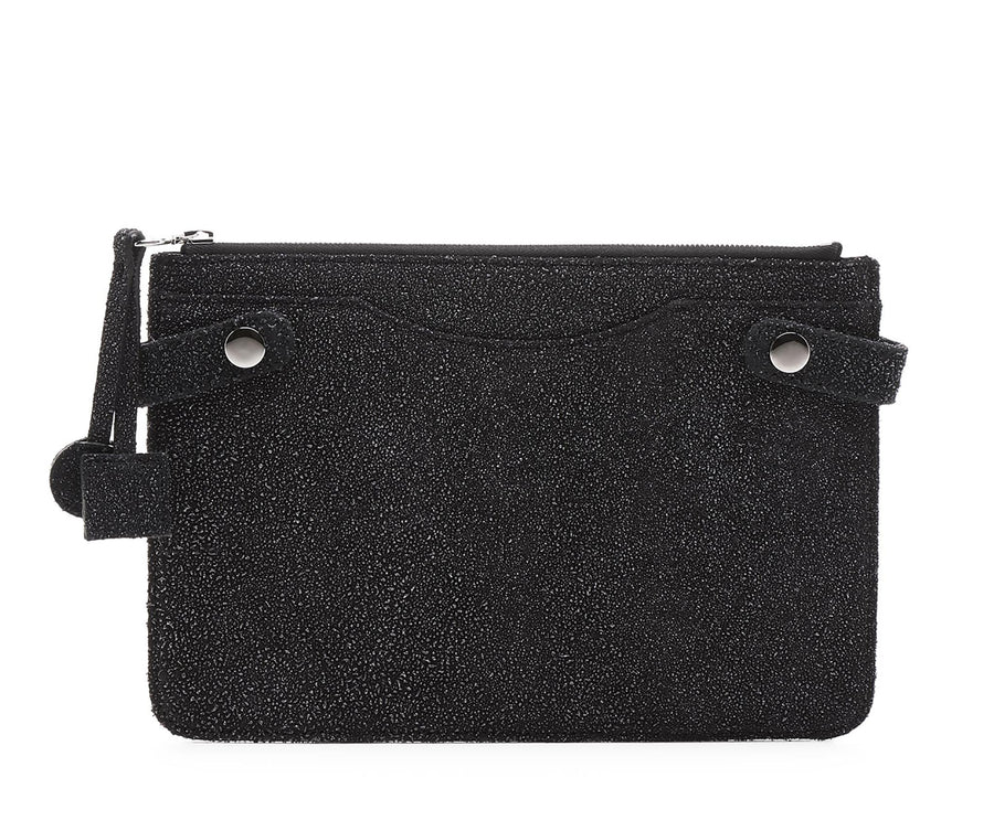 Highline Pouch in Sparkling Black Caviar-Coated Lambskin