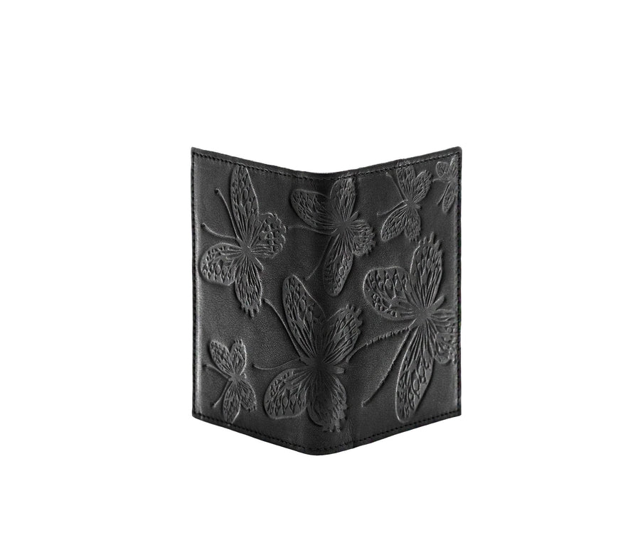 Folded Card Wallet in Embossed Leather - Bernard Maisner Butterfly