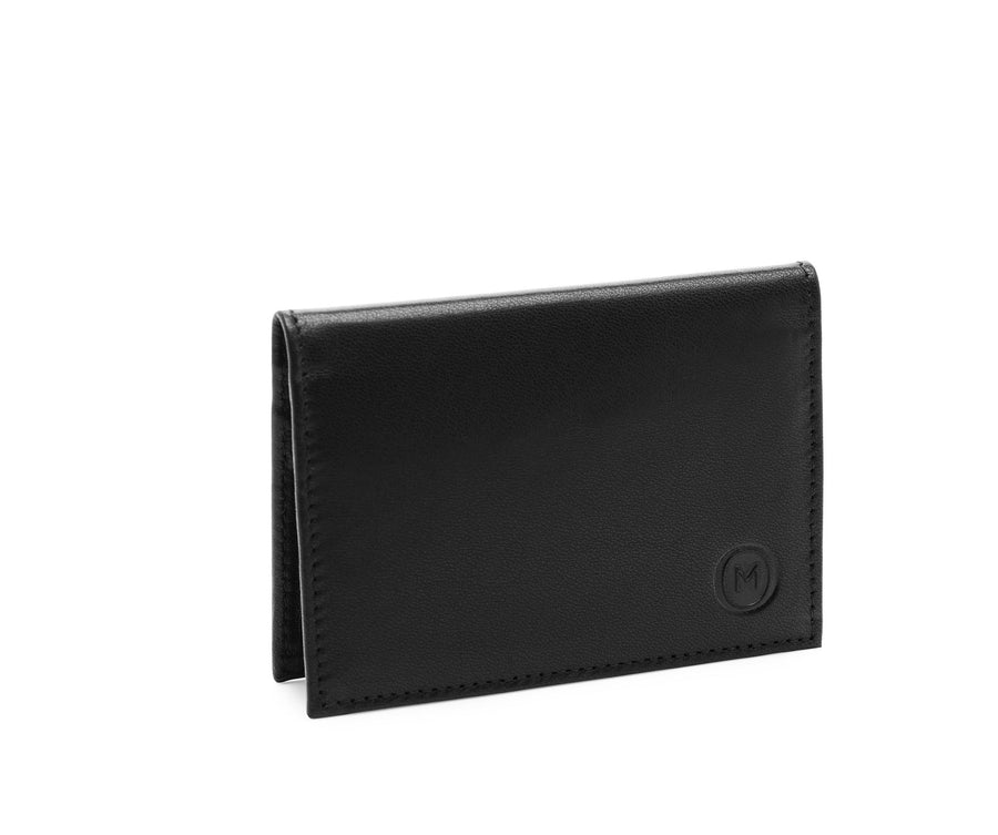 Folded Card Wallet in Smooth Leather - Black / Purple