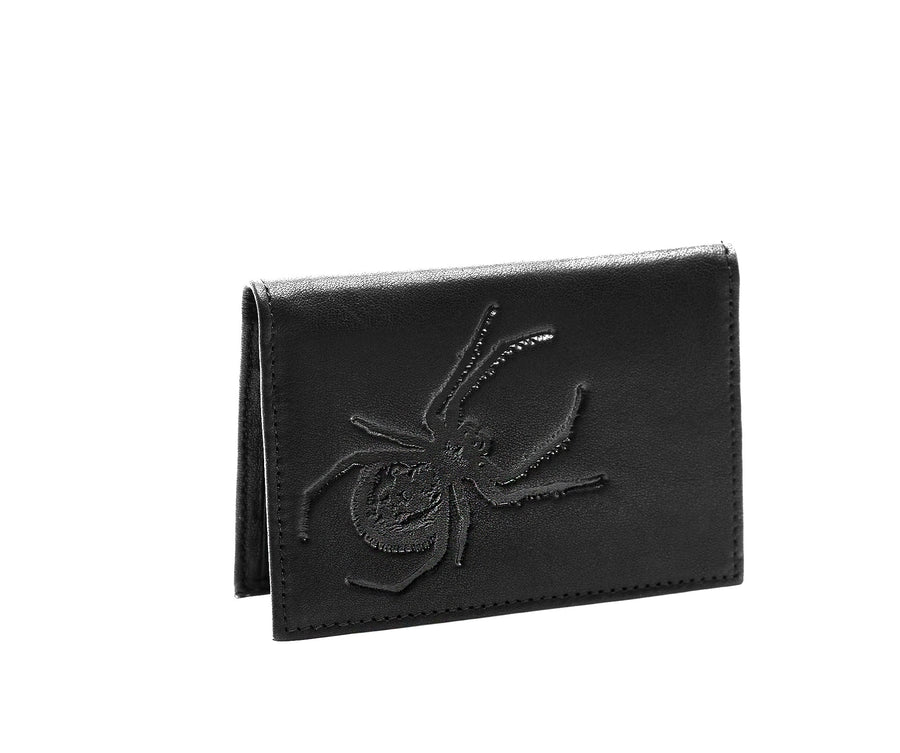 Folded Card Wallet in Embossed Leather - Bernard Maisner Spider / Fly