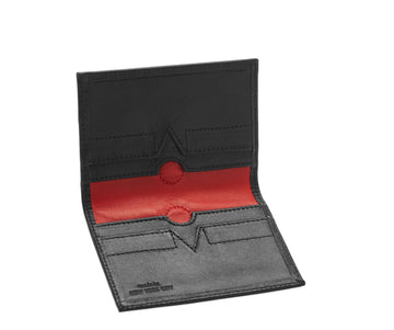 Folded Card Wallet in Smooth Leather - Black / Red