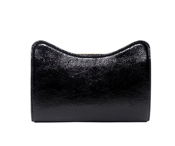Jeffy Clutch in Black Crinkle Patent Leather