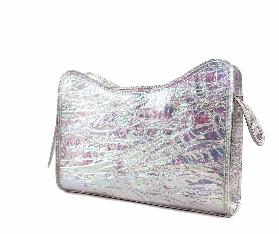 Jeffy Clutch in Iridescent Crinkle PVC