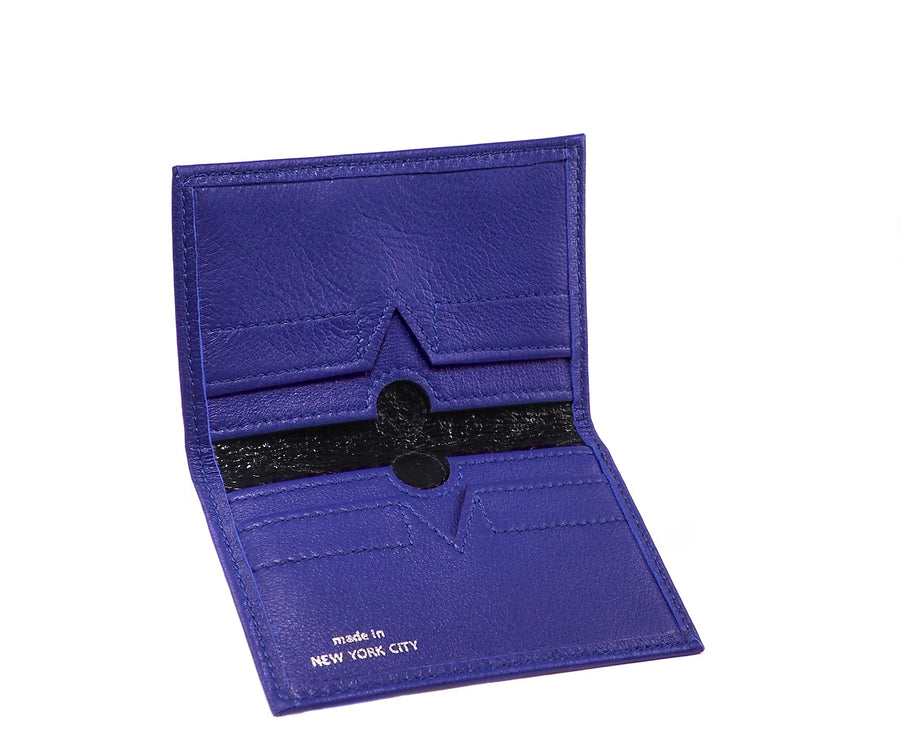 Folded Card Wallet in Blue Iris Leather