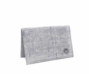 Folded Card Wallet in Washed Denim Suede