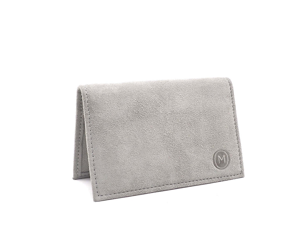 Folded Card Wallet in Putty Suede