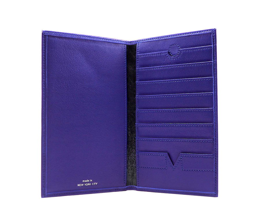 Folded Long Wallet in Blue Iris Leather