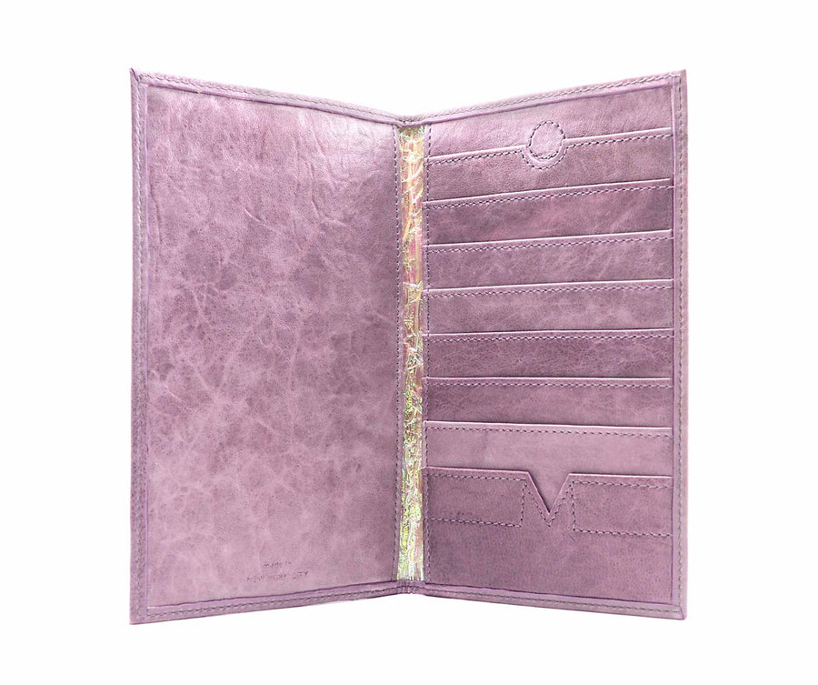 Folded Long Wallet in Plum Leather / Iridescent Crinkle