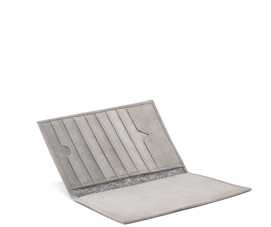 Folded Long Wallet in Putty Suede