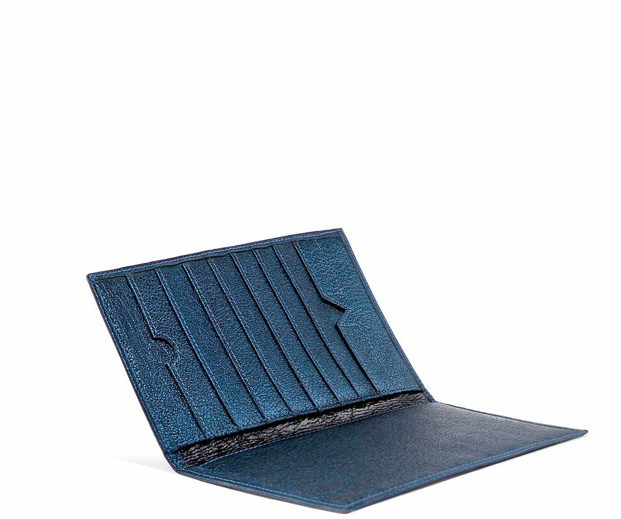Folded Long Wallet in Teal Metallic Leather