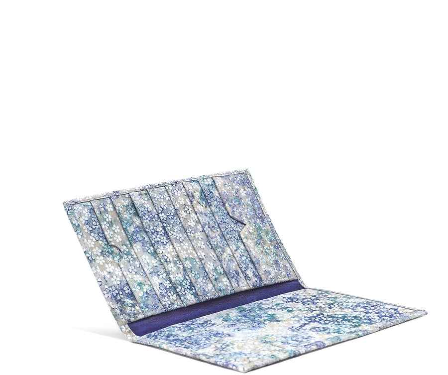 Folded Long Wallet in Watercolor Floral Suede
