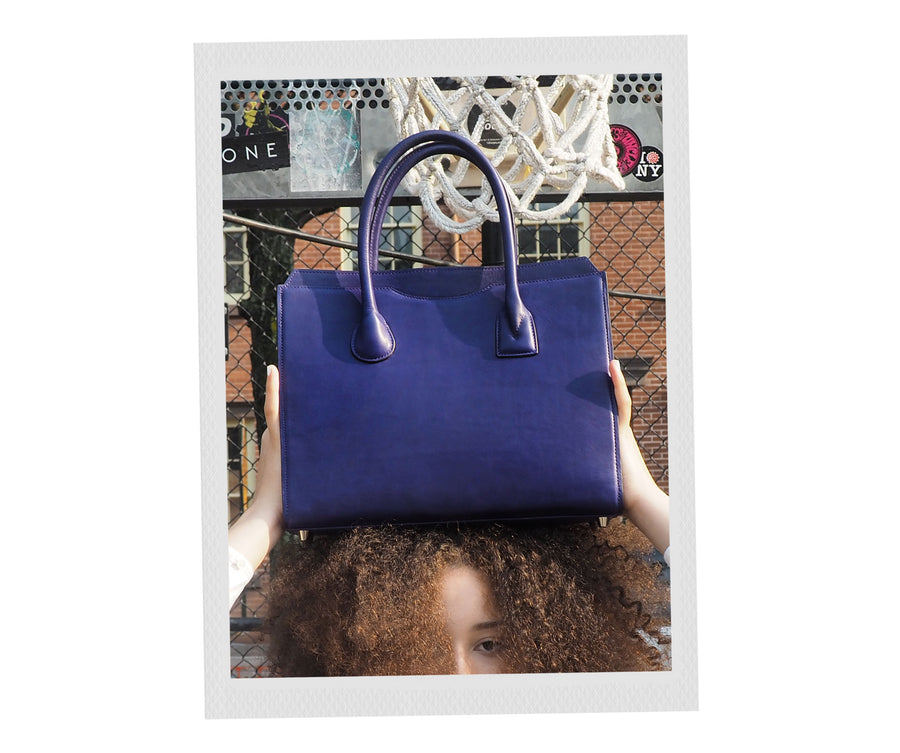 Highline 130 Smooth Calfskin Handbag in Purple Iris