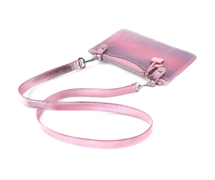Long Strap in Pink Metallic Leather
