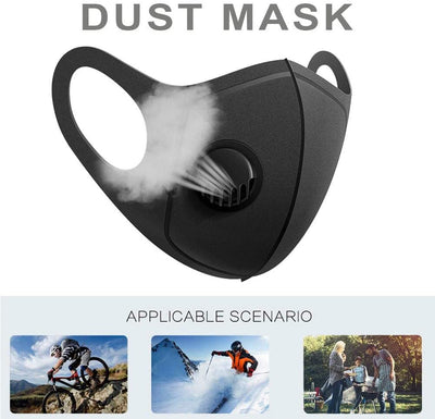 Double Layer Mask with Exhalation Valve, Washable and Reusable