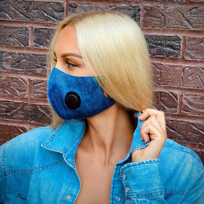Denim Print Mouth Mask with the Exhalation Valve Stretchable Anti Dust Face Cover, Dark Blue