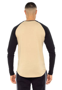 T-SHIRT LONG SLEEVE CO SAND & BLACK