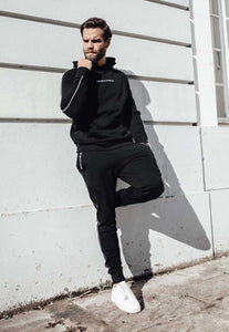 TRACKSUIT HOODIE PIPING - BLACK