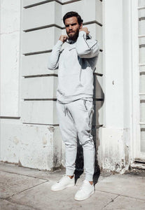TRACKSUIT HOODIE PIPING - HEATHER GREY