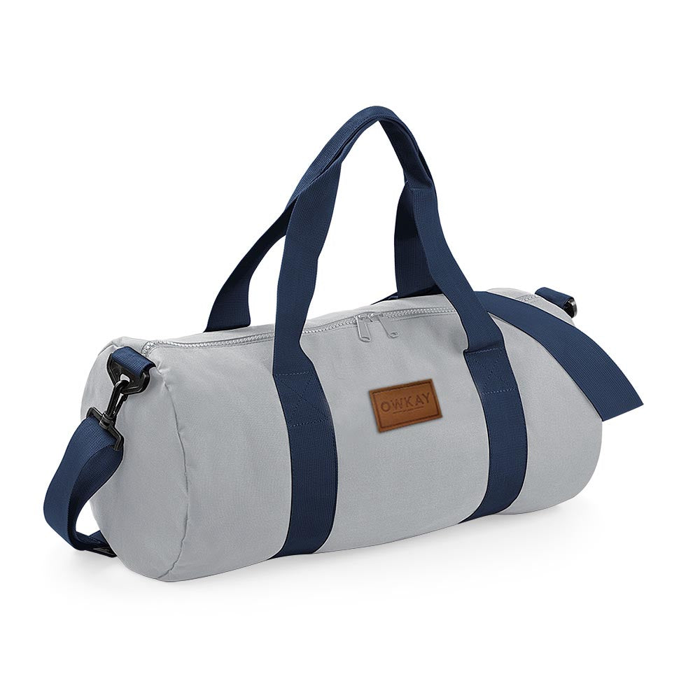 BARREL BAG GREY & NAVY