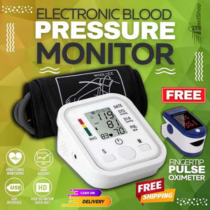 Portable Digital Blood Pressure Monitor FREE DIGITAL FINGERTIP PULSE OXIMETER