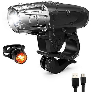 USB Rechargeable Bicycle Head Light LED Bike Light Set