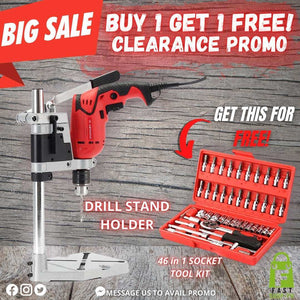 ELECTRIC DRILL STAND HOLDER + FREE 46-IN-1 SOCKET TOOL KIT