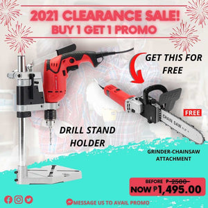 ELECTRIC DRILL STAND HOLDER + CHAINSAW-GRINDER ATTACHMENT