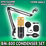 BM-800 CONDENSER MICROPHONE SET (WITH SHOCK MOUNT, WIND SCREEN, POP SHIELD, STAND)