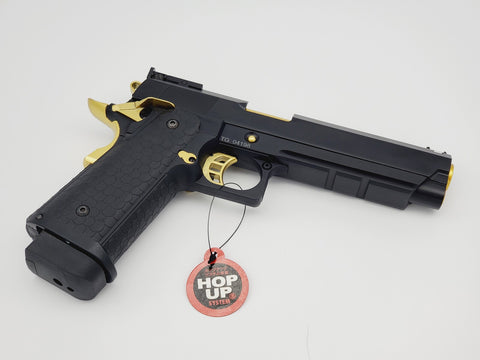 STI HI CAPA 2011 FULL METAL DOUBLE BELL GBB GEL BLASTER BLACK AND GOLD EDITION