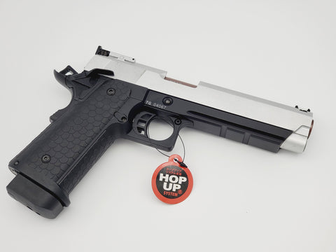 STI HI CAPA 2011 TIGHT BORE BARREL FULL METAL DOUBLE BELL GBB GEL BLASTER SILVER AND BLACK EDITION