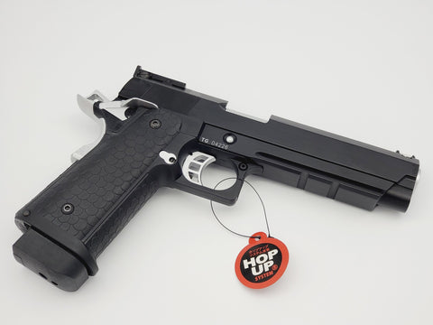STI HI CAPA 2011 TIGHT BORE BARREL FULL METAL DOUBLE BELL GBB GEL BLASTER BLACK AND SILVER EDITION