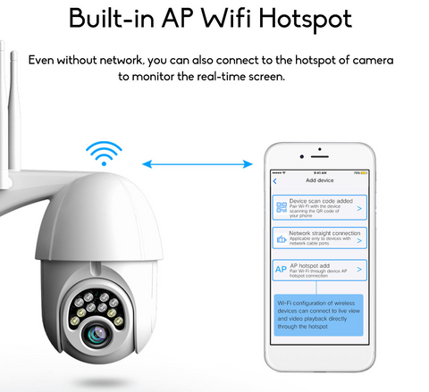 Even without WIFI signal you can still connect to the hotspot of the camera to monitor the real-time screen. Another great unique feature exclusive to the GUUDGO Outdoor Wifi 1080P HD Security Camera.