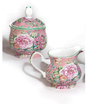 Rose Garden Sugar Bowl & Creamer Set